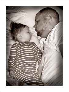 Daddy and son cosleeping peacefully