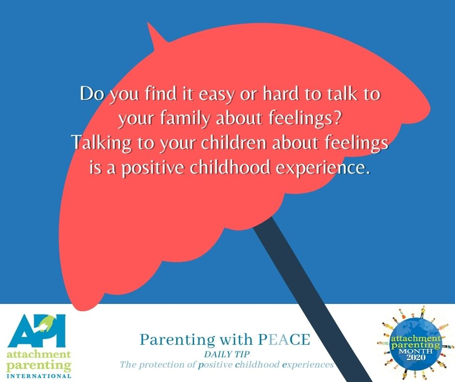 Red umbrella graphic with text: Parenting with peace daily tip - Do you find it easy or hard to talk to your family about feelings? Talking to your children about feelings is a positive childhood experience.
