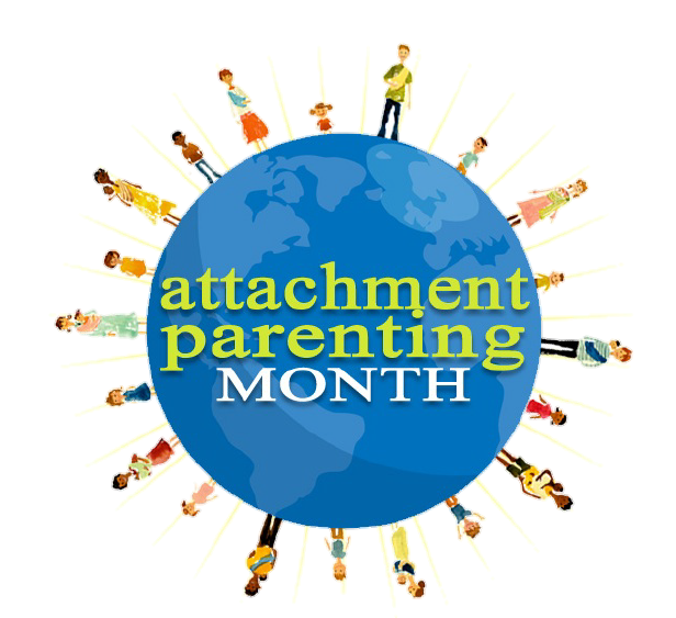 Blue earth with parents and children of different backgrounds standing all around edge and words attachment parenting month in the center