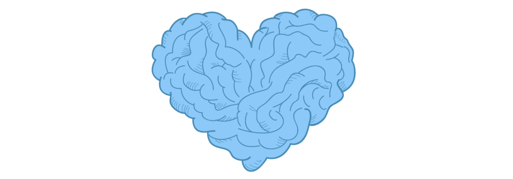 light blue animated brain in the shape of a heart