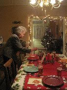 Barbaras mom setting holiday table