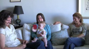 "Chantal and Jennifer, the lactation consultants and producers behind ""The Milky Way"" Movie, visit with a client at her home about breastfeeding"