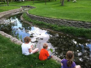 kids at duck pond 2016