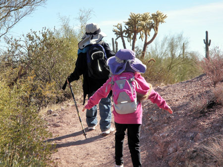 My two children on a New Year's Day hike in the beautiful Arizona desert.